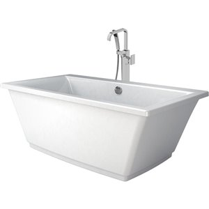 Jacuzzi FIA 66-in L x 36-in W x 24-in H White Acrylic Rectangular Freestanding Bathtub with Center Drain