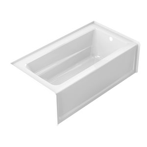 Jacuzzi Primo 60-in L x 30-in W x 20.25-in H Almond Acrylic Rectangular Skirted Bathtub with Right-Hand Drain