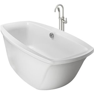 Jacuzzi Inizio 66-in L x 36-in W x 24-in H 2-Person White Acrylic Oval Whirlpool Tub with Center Drain
