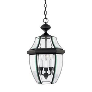 Quoizel Newbury Collection 12.5-in x 21-in Mystic Black Lantern Pendant Light