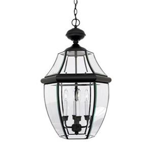 Quoizel Newbury Collection 16-in x 26.5-in Mystic Black Lantern Pendant Light