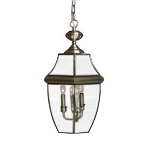 Quoizel Newbury Collection 16-in x 26.5-in Pewter Lantern Pendant Light