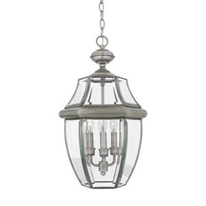 Quoizel Newbury Collection 12.5-in x 21-in Pewter Lantern Pendant Light