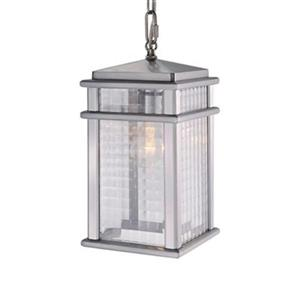 Feiss Mission Lodge Collection 7-in x 13.5-in Brushed Aluminum Rectangular Pendant Light