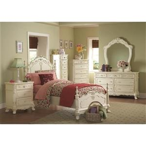 Homelegance Cinderella 24-in x 29-in x 17-in White Antique Ecru Nightstand
