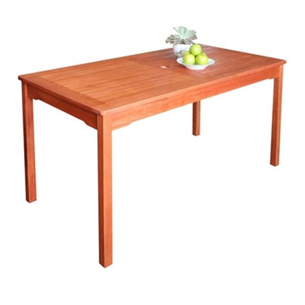 Vifah Malibu 59 In X 31 In Natural Wood Rectangular Outdoor Wood Dining Table