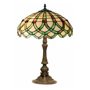 Warehouse of Tiffany 16-in x 23-in Antique Bronze Tiffany Style Ribbon 2-Light Table Lamp
