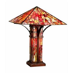 Warehouse of Tiffany 3-Light Tiffany Style Mission Double Lite Table Lamp
