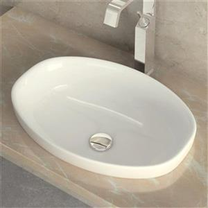 WS Bath Collections Ceramica 21.20-in x 14.80-in White Ceramic Oval Self-Rimming Bathroom Sink
