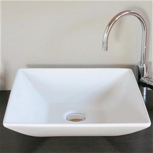 WS Bath Collections Ceramica 17.30-in x 17.30-in White Ceramic Square Vessel Sink