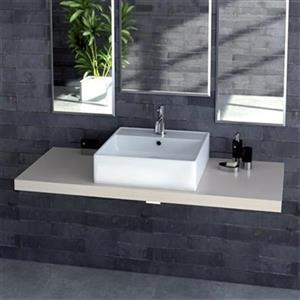 WS Bath Collections Ceramica 18.30-in x 18.30-in White Ceramic Square Vessel Sink