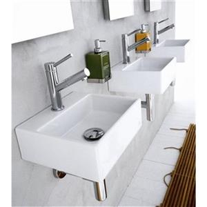 WS Bath Collections Linea 12.80-in x 11.22-in White Ceramic Rectangular Wall-Mount Vessel Sink