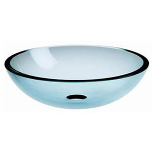 WS Bath Collections Linea 16.70-in x 16.70-in Clear Glass Round Vessel Sink