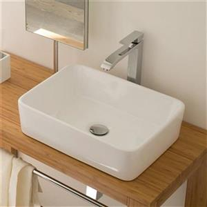 WS Bath Collections 18.9-in x 14.6-in Ceramic White Rectangular Linea Bathroom Sink