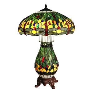 Warehouse of Tiffany 2-Light Tiffany Style Dragonfly Table Lamp
