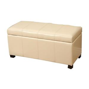 Warehouse of Tiffany White Ariel Bi-Cast Leather Bench Ottoman