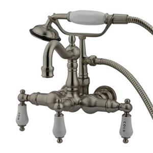 Elements of Design Hot Springs 10-in Satin Nickel Clawfoot Tub and Shower Filler
