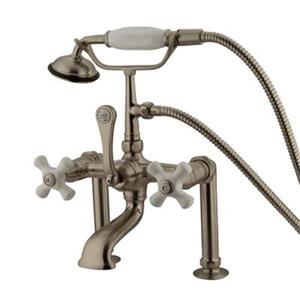 Elements of Design Hot Springs 13.12-in Satin Nickel Clawfoot Tub and Shower Filler