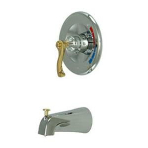 Elements of Design 6.75-in Chrome/Polished Brass Shower Faucet Pressure Balanced Tub Spout System