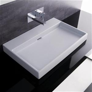 WS Bath Collections 27.6-in x 16.7-in White Ceramica I Wall Mount/Self Rimming Bathroom Sink