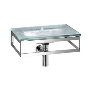 WS Bath Collections Linea 20.1-in x 13.8-in Silver Leaf Glass Wall Mount Rectangular Bathroom Sink