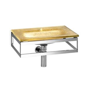 WS Bath Collections Linea 20.1-in x 13.8-in Gold Leaf Glass Wall Mount Rectangular Bathroom Sink