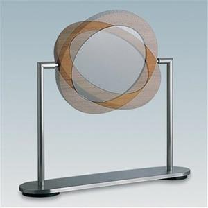 WS Bath Collections Stainless STeel/Walnut Make-Up Magnifying Mirror