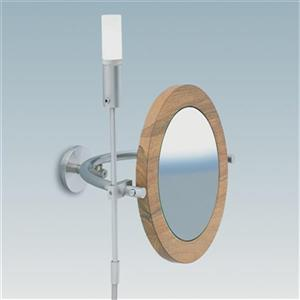 WS Bath Collections Stainless Steel/Walnut Wall Mounted Make-Up/Magnifying Mirror with Halogen Light