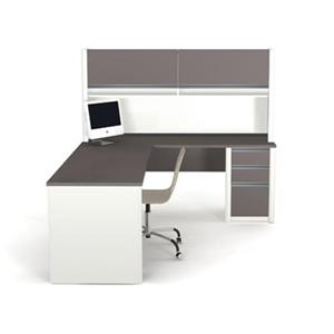 Bestar 938 Connexion L-Shaped Workstation with Hutch,93859-5