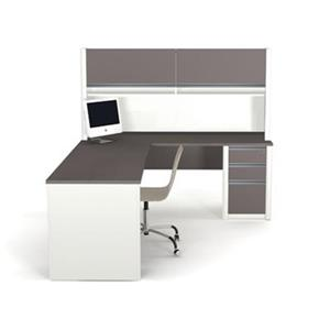 Bestar 938 Connexion L-Shaped Workstation with Hutch,93877-5