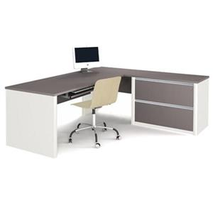 Bestar 938 Connexion L-Shaped Workstation with Oversized Ped
