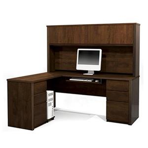 Bestar 998 Prestige + L-Shaped Workstation with Hutch,99872-