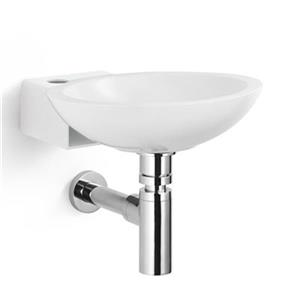 WS Bath Collections Collection Linea 13.8-in x 12.4-in White/Dark Grey Stainless SteelWall Mount Oval Bathroom Sink