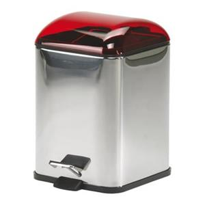 WS Bath Collections Karta Collection Complements 11.40-in x 8.30-in Red Foot Pedal Waste Basket