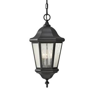 Feiss Martinsville Collection 10.25-in x 21-in Black Seeded Glass Lantern 3-Light Pendant Light