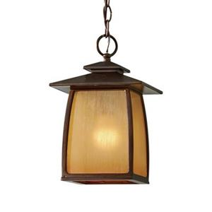 Feiss Wright House Collection 7.88-in x 12.25-in Sorrel Brown Stained Glass Lantern Pendant Light