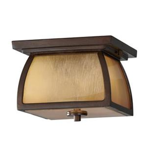 Feiss Wright House Sorrel Brown Outdoor Close To Ceiling Light