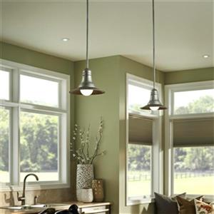 Feiss Urban Renewal Collection 9-in x 6.75-in Antique Pewter Bell Mini Pendant Light