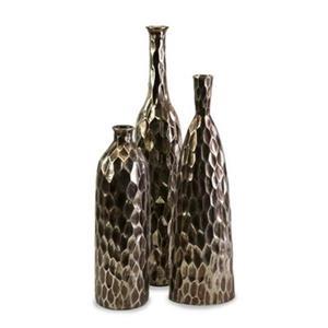 IMAX Worldwide Bevan Gold Ceramic Vases (Set of 3)