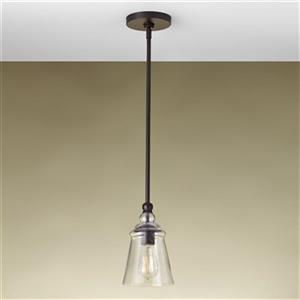 Feiss Urban Renewal Collection 5.75-in x 10-in Oil-Rubbed Bronze Bell Mini Pendant Light