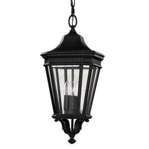 Feiss Cotswold Lane Collection 9.5-in x 21.5-in Black Lantern 3-Light Pendant Light