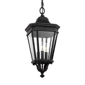 Feiss Cotswold Lane Collection 9.5-in x 21.5-in Black Seeded Glass Lantern 3-Light Pendant Light
