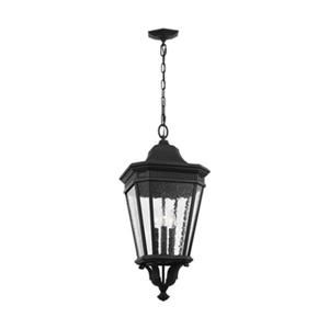 Feiss Cotswold Lane Collection 12-in x 26.50-in Black Seeded Glass Lantern 3-Light Pendant Light