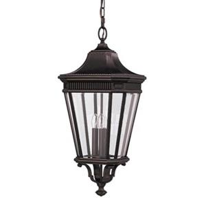 Feiss Cotswold Lane Collection 12-in x 26.50-in Grecian Bronze Lantern 3-Light Pendant Light