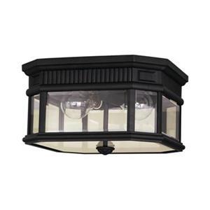 Feiss Cotswold Lane Black 2-Light Exterior Flush Mount Light