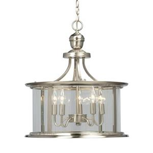 Galaxy Huntington Collection 18-in x 19.5-in Brushed Nickel 5-Light Foyer Pendant