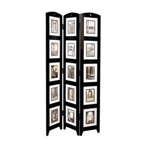 Nexxt Designs Preston 64.5-in x 33-in Black Triple Panel Collage Room Divider