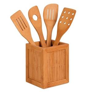 Honey Can Do Bamboo Four Utensils and Kitchen Caddy Cutlery Tray