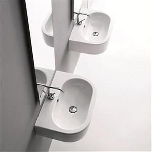 WS Bath Collections Kerasan 23.6-in x 16.-in White Semi-Circle Bathroom Sink