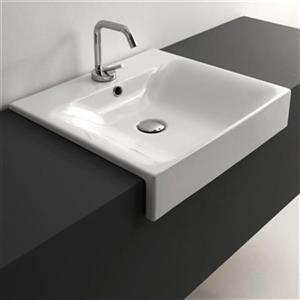 WS Bath Collections Kerasan 19.7-in x 17.7-in White Rectangular Bathroom Sink
